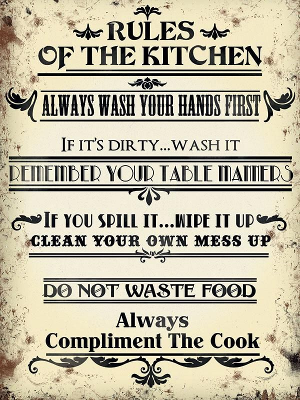 Kitchen Rules - Fridge Magnet #kitchenrules Kitchen Rules – The Original Metal Sign Company #kitchenrules