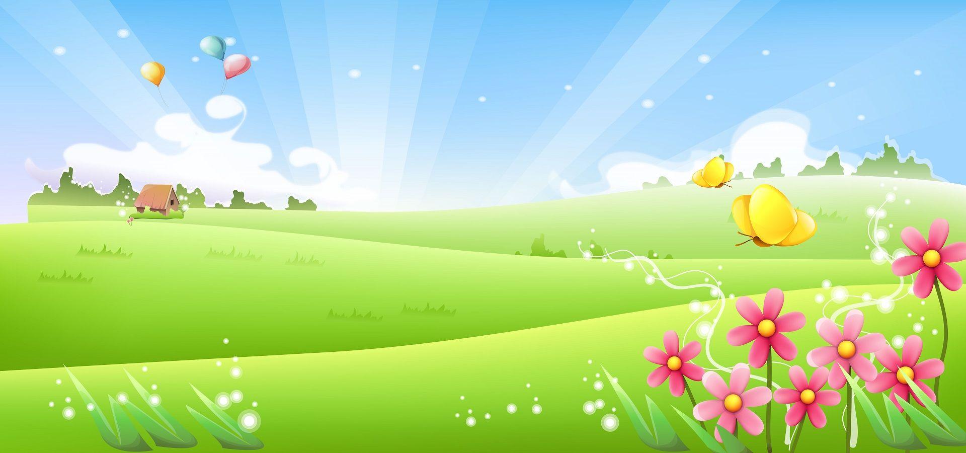 โรแมนติกฤดูใบไม้ผลิทุ่งหญ้าดอกไม้การ์ตูนผีเสื้อเวกเตอร์