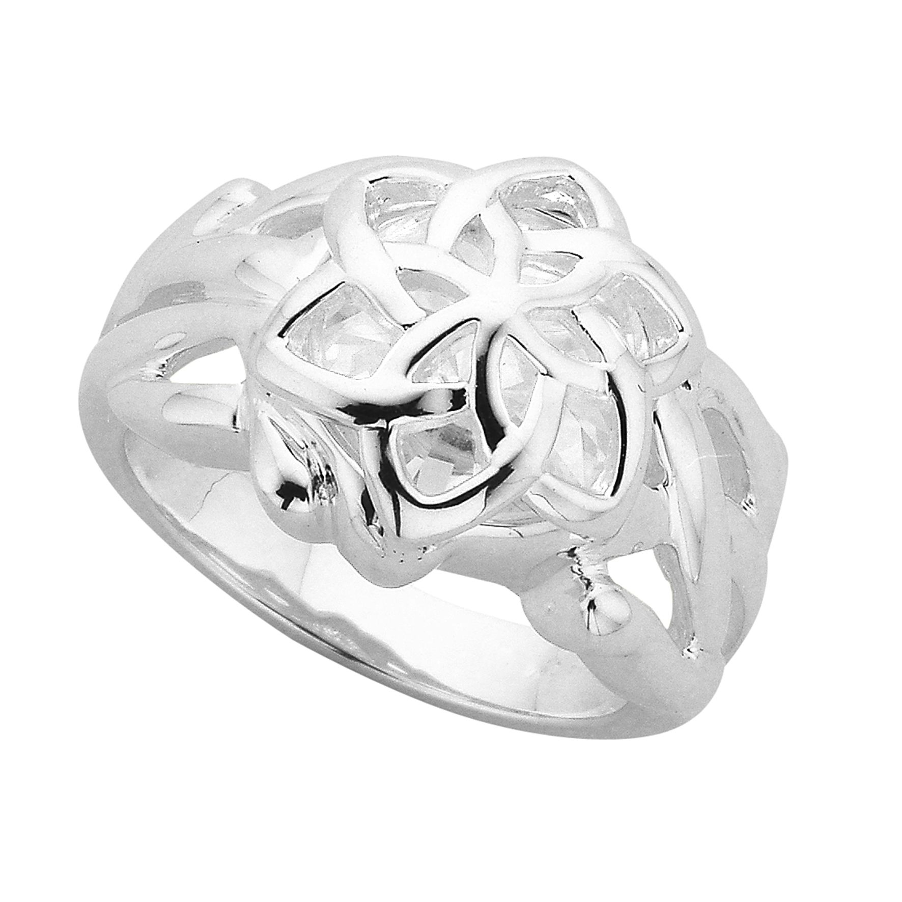 Galadriel's Nenya Flower Ring in SILVER with CZ at Goldfields Jewellers in Queenstown New Zealand