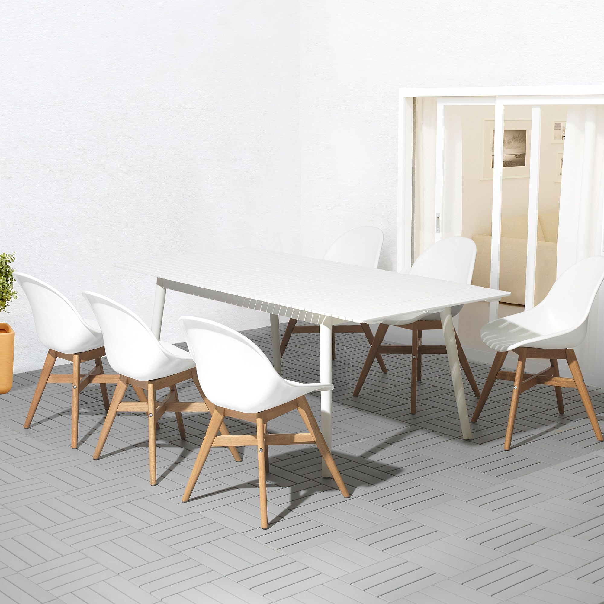 Hattholmen Fanbyn Tisch 4 Stuhle Aussen Weiss Weiss Ikea