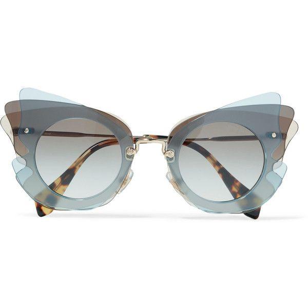 Miu Miu Cat-eye acetate sunglasses (812.655 COP) ❤ liked on Polyvore featuring accessories, eyewear, sunglasses, glasses, stuff, grey, gray sunglasses, acetate glasses, cat eye sunglasses and retro sunglasses