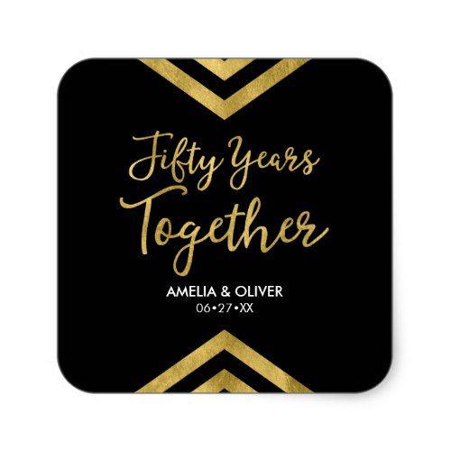 Faux Gold Chevron 50th Wedding Anniversary Party Square Sticker