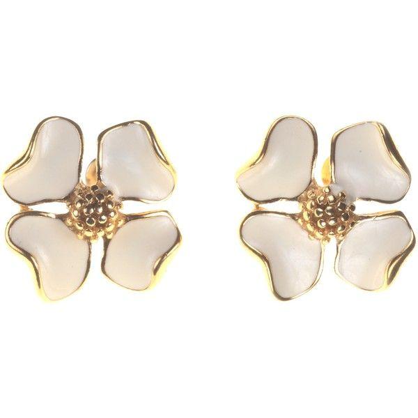 Alice Joseph Vintage Trifari Enamel Flower Stud Earrings, Cream found on Polyvore