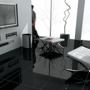 Polished Black Porcelain Tiles Decoracion Interiores Casas Interiores De Casa Colores De Casas Interiores