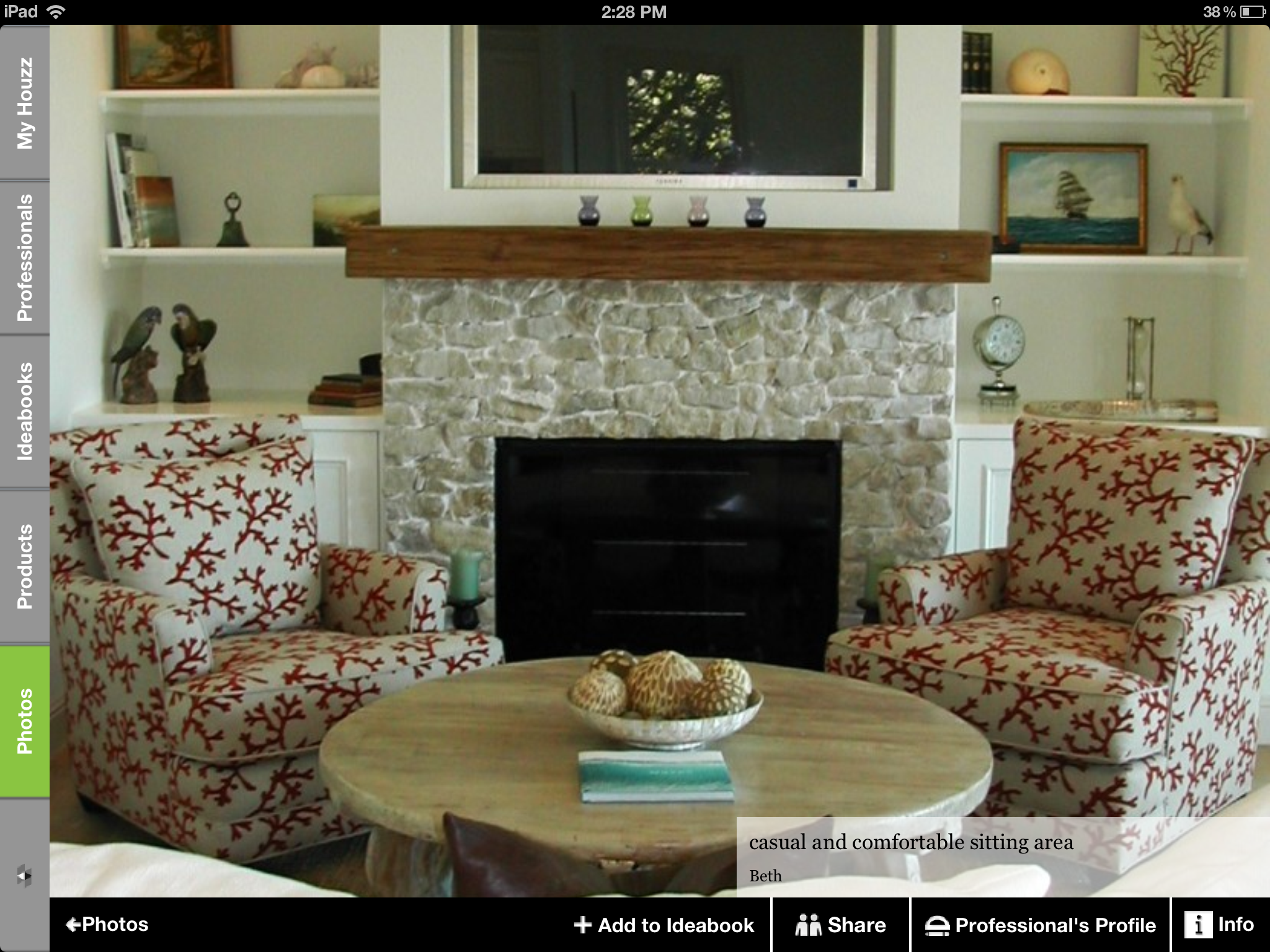 Like the built-ins, chairs, coffee table, set-up