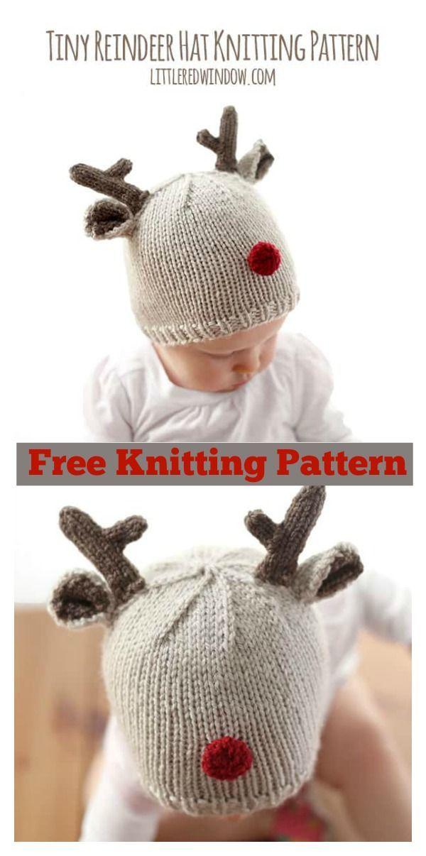 Patrón de tejido de punto libre del sombrero del bebé del reno ...