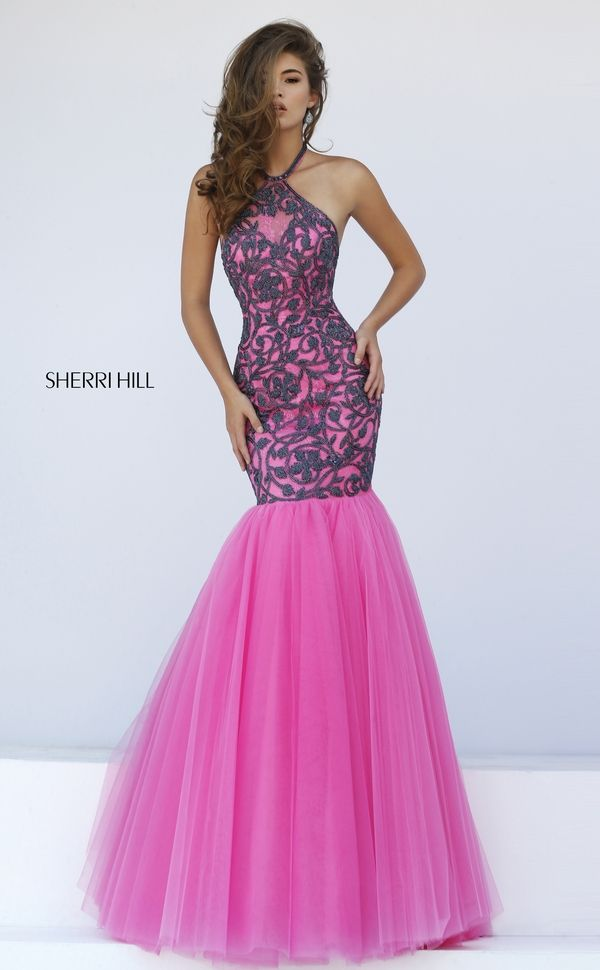 Lace on lace is lusciously inviting in the Sherri Hill 50015 halter ...