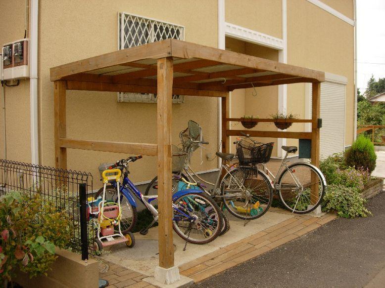 手作り 自転車置き場 自転車置き場 ハウスデザイン 自転車小屋
