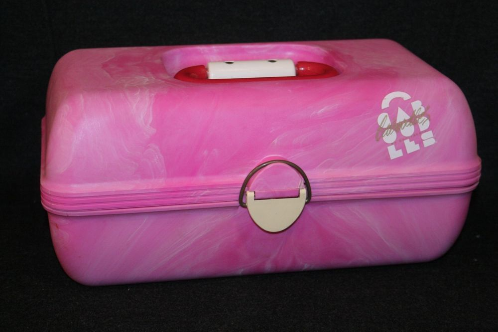 Caboodles Makeup Train Case Pink Swirl With Mirror Red Handle Hard