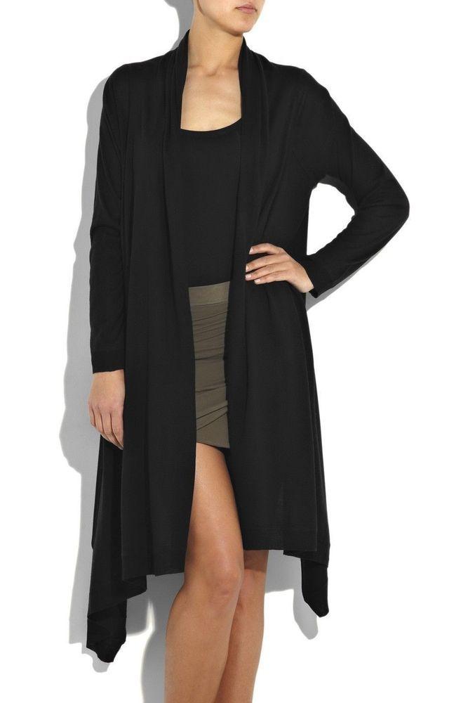 New dkny donna karan black cozy cashmere wrap long cardigan ...