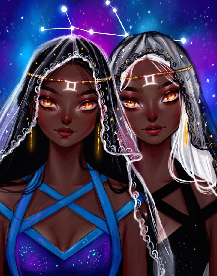 Gemini Black Version , an art print by Muzenik Art in 2020 | Gemini art,  Art, Zodiac art
