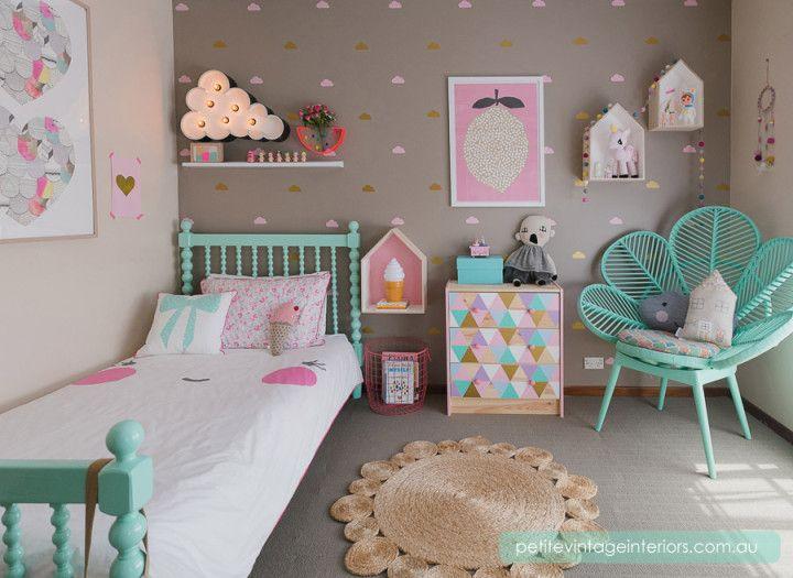 Chambre colorée pour petite fille Vert menthe, Chambre filles et