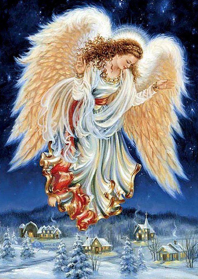 Людмиле днем, красивые открытки с зимним пейзажем и ангелом хранителем