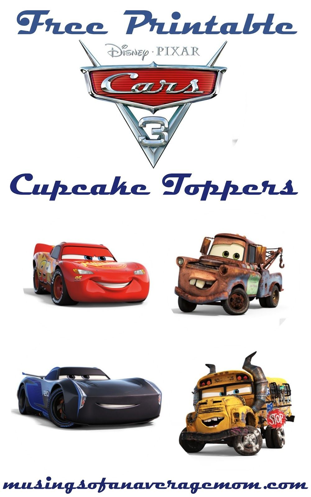 Cars 3 Cupcake Toppers | Disney cars birthday, Disney cars ...
