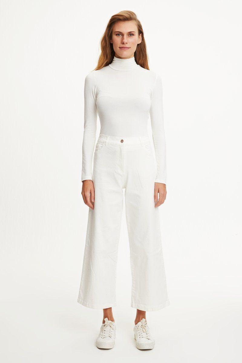 Kadin Tesettur Bol Paca Beyaz Kot Pantolon Modelleri Moda Stilleri Pantolon Basortusu Modasi