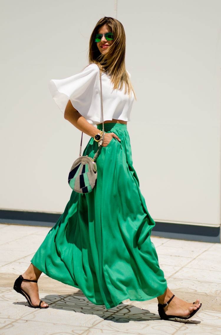 pretty casual green maxi skirt outfit alolalom.com