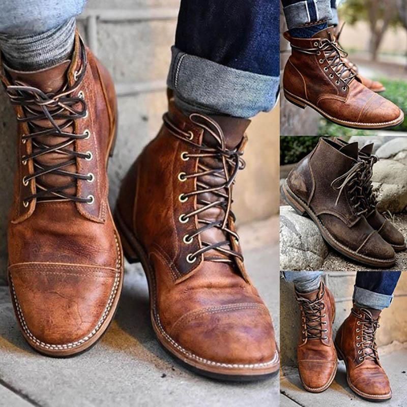 Winter Mens Combat Martin Boots Retro Leather High-Top Lace Up Motorcycle Shoes
