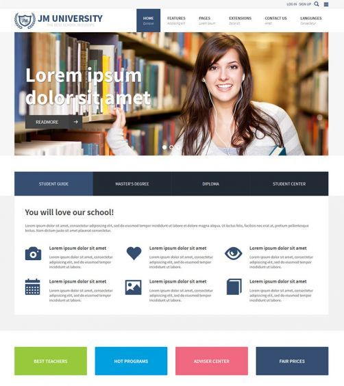 Jm University Multipurpose Education Template Universal Education Joomla Template With Education Website Templates Educational Websites School Department