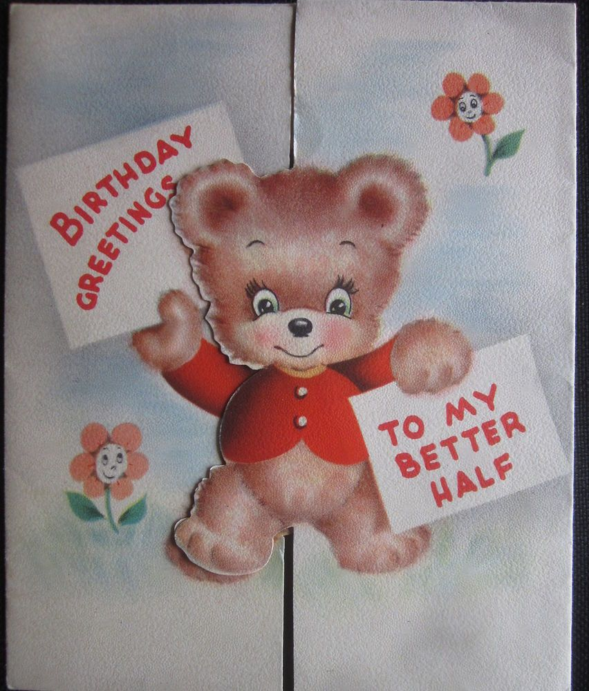 Vintage Happy Birthday Greeting Card Bears Folds Open To A Kiss Cute