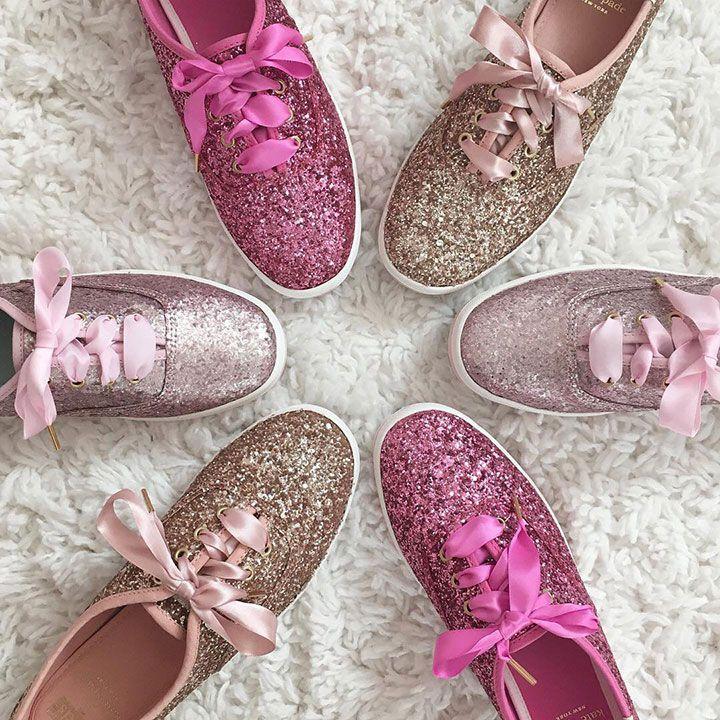 e330a437adff Choose your favorite pink ~ Blush Pink Matte Glitter, Carousel Pink Glitter  or Rose Gold Glitter ~ Keds X Kate Spade New York Champion Glitter sneakers