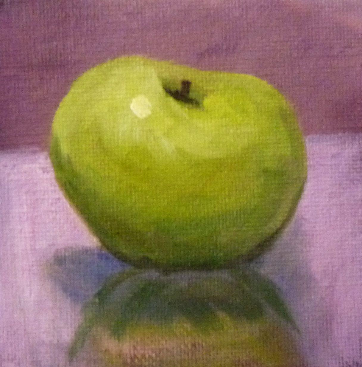 Oil Painting, Original, Miniature 4x4, Still Life on Canvas, Green ...