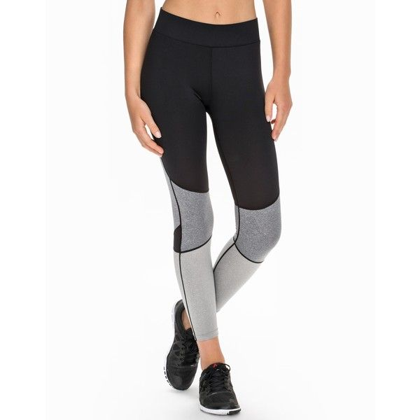 Nly Sport Block Colour Tights (425 SEK) ❤ liked on Polyvore featuring activewear, activewear pants, grey, sports fashion, tights, womens-fashion and sports activewear