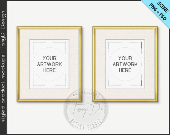 Set of 2 Frame 8x10 Mockup   4 PNG scene   Thin Gold Silver Empty ...