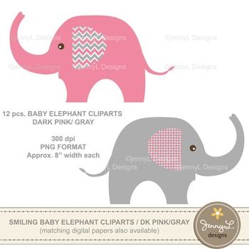Free Clipart Baby Elephant Pink And Grey Elepha