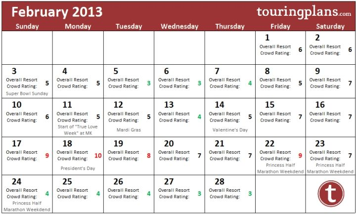 Looking over the February Crowd Calendar at WDW - TouringPlans.com Blog | TouringPlans.com Blog