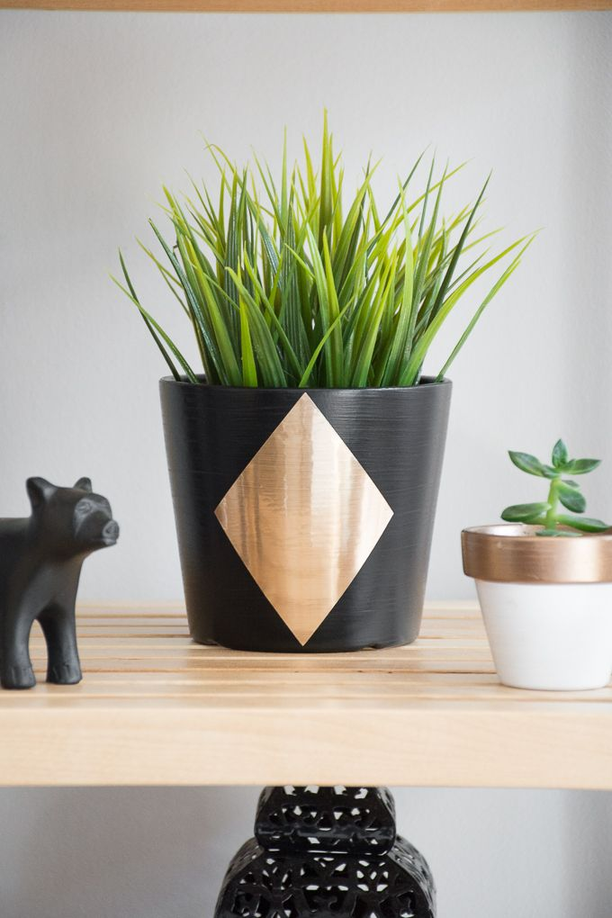 How To Use Cricut Adhesive Foil To Customize An Ikea Papaja Plant Pot Plant Pot Diy Indoor Planters Fake Plants Decor