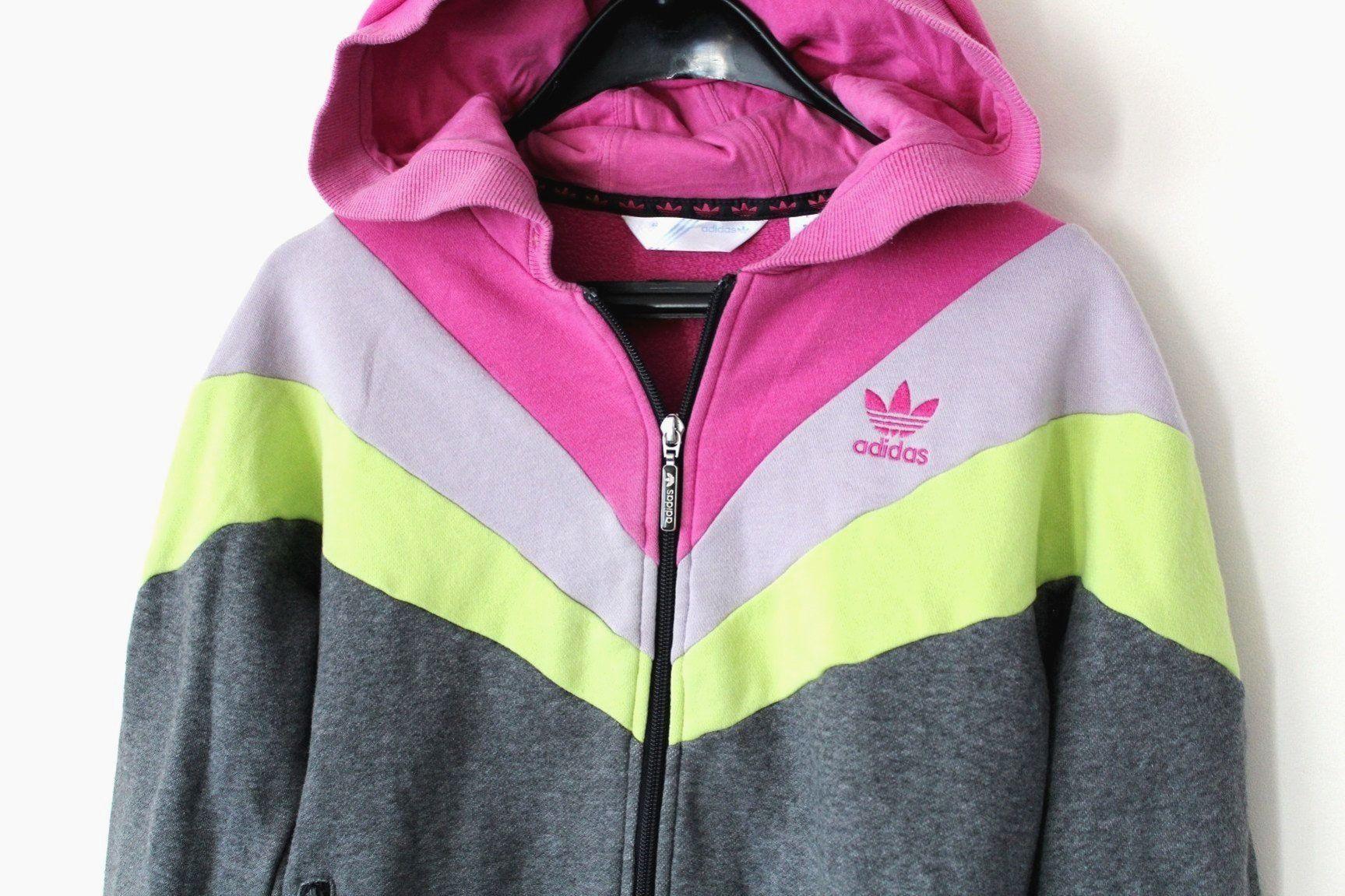 Vintage adidas jacke farbblock adidas sweatshirt grau rosa