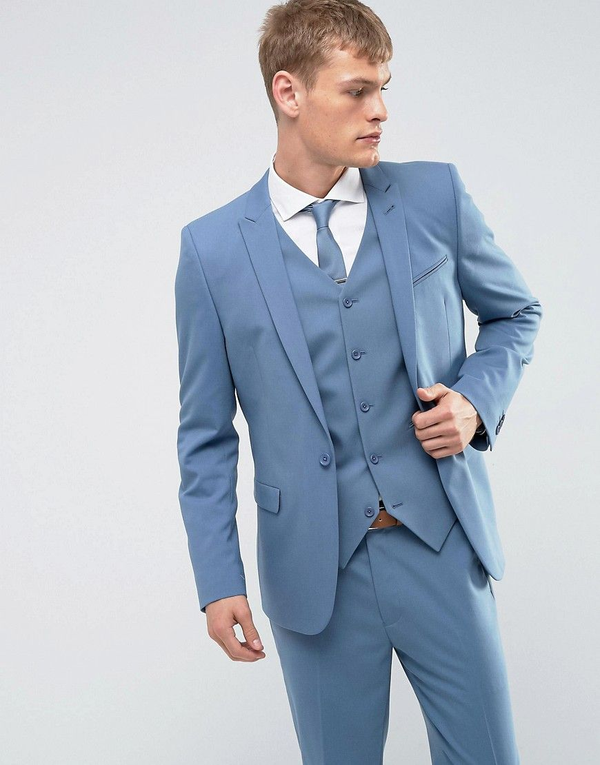 ASOS WEDDING Skinny Suit Jacket In Airforce Blue - Blue | Suits ...