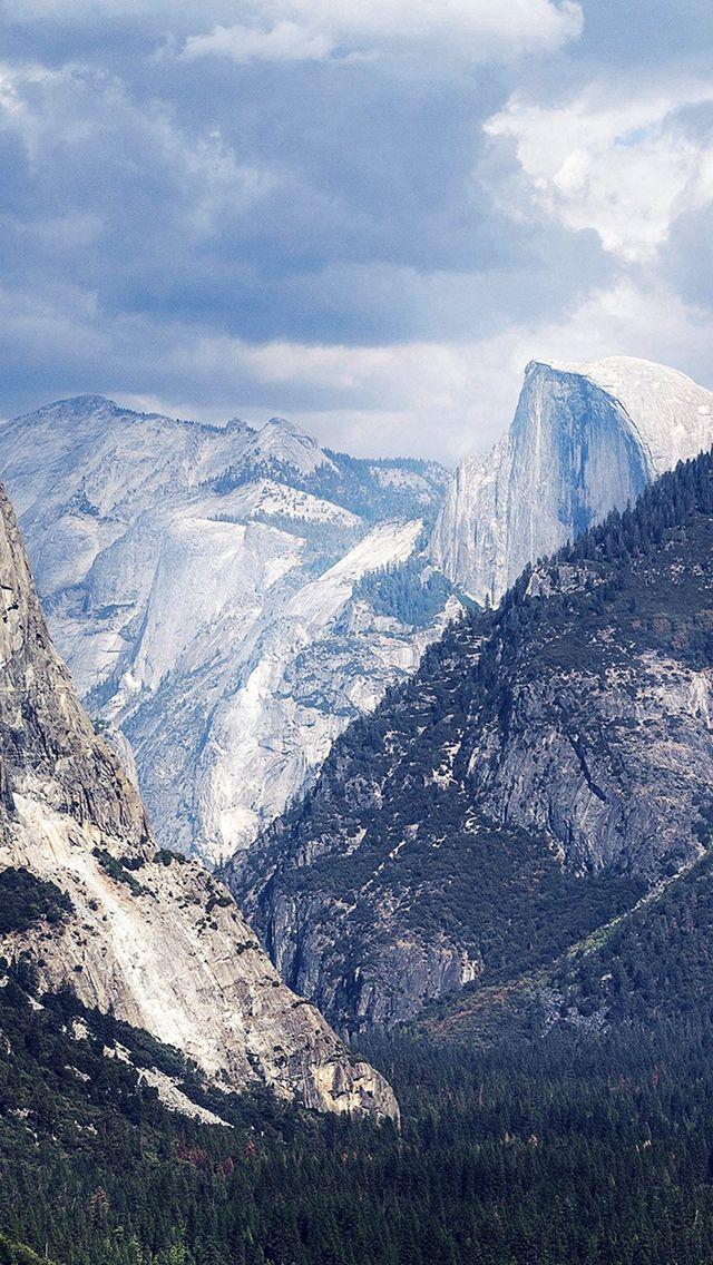 Yosemite Mountain Nature Rock Sky Forest Cloud Blue iPhone