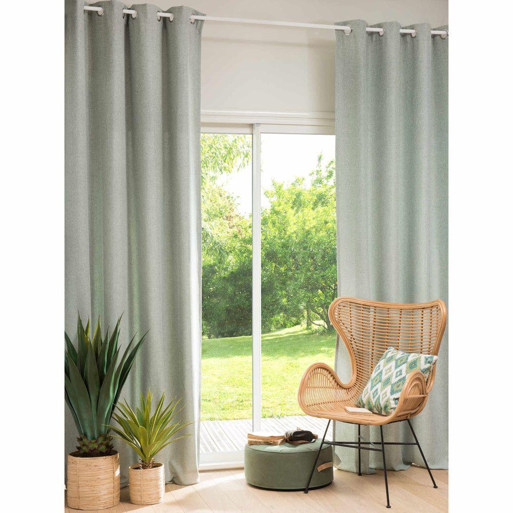 Rideau illets vert de gris l 39 unit 140x270 salon rideaux oeillets vert de gris et - Rideaux salon gris ...
