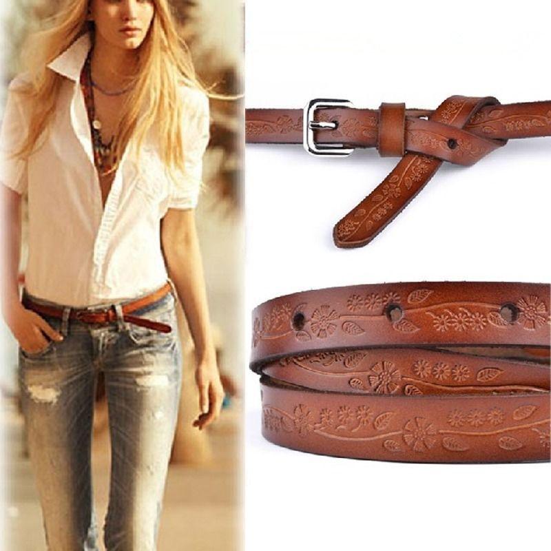 Fashion Women Girl Skinny Waist Belt Thin Leather Waistband Steel Pin Buckle