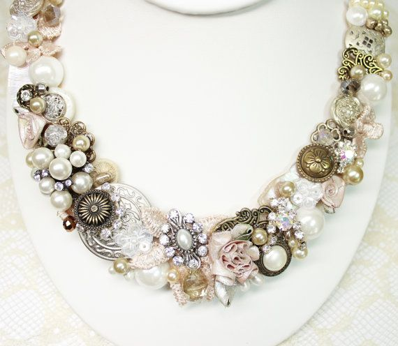 Blush Statement Necklace with Pearl Brooches by BrassBoheme, $119.00