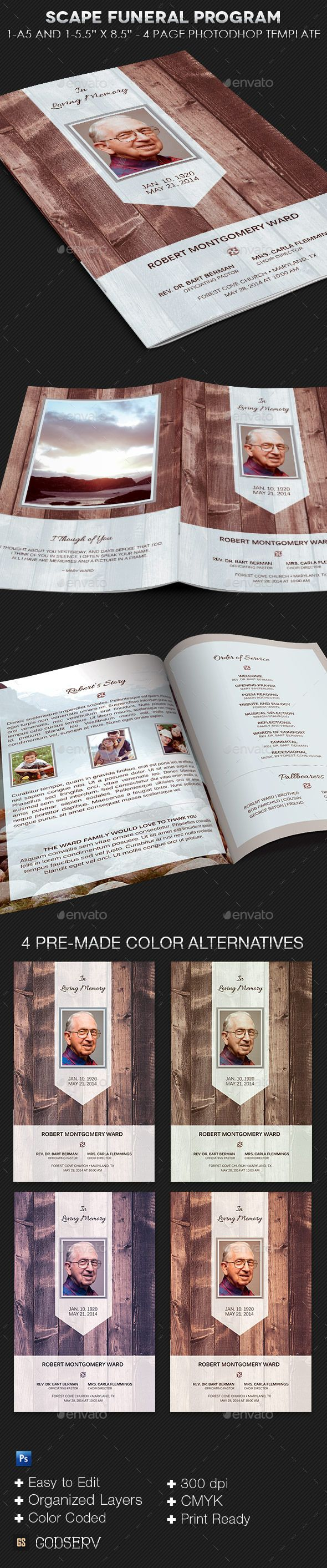 Scape Funeral Program Template   Template, Brochures and Brochure ...