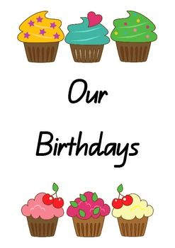 A Cute Cupcake Themed Brithday Chart For Displaying Students Birth Dates In The Classroom Just Add Your Own Student Names And