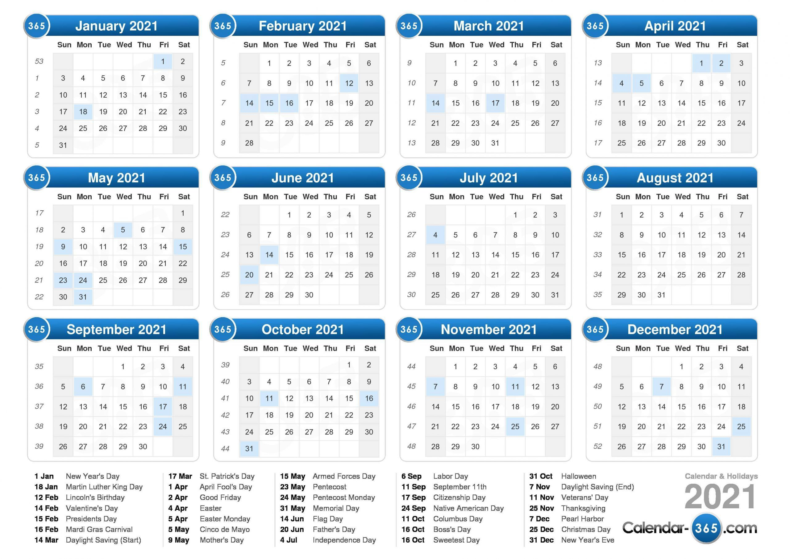 2021 Calendar With Week Numbers Free 365 Days Di 2020 Angkatan Darat