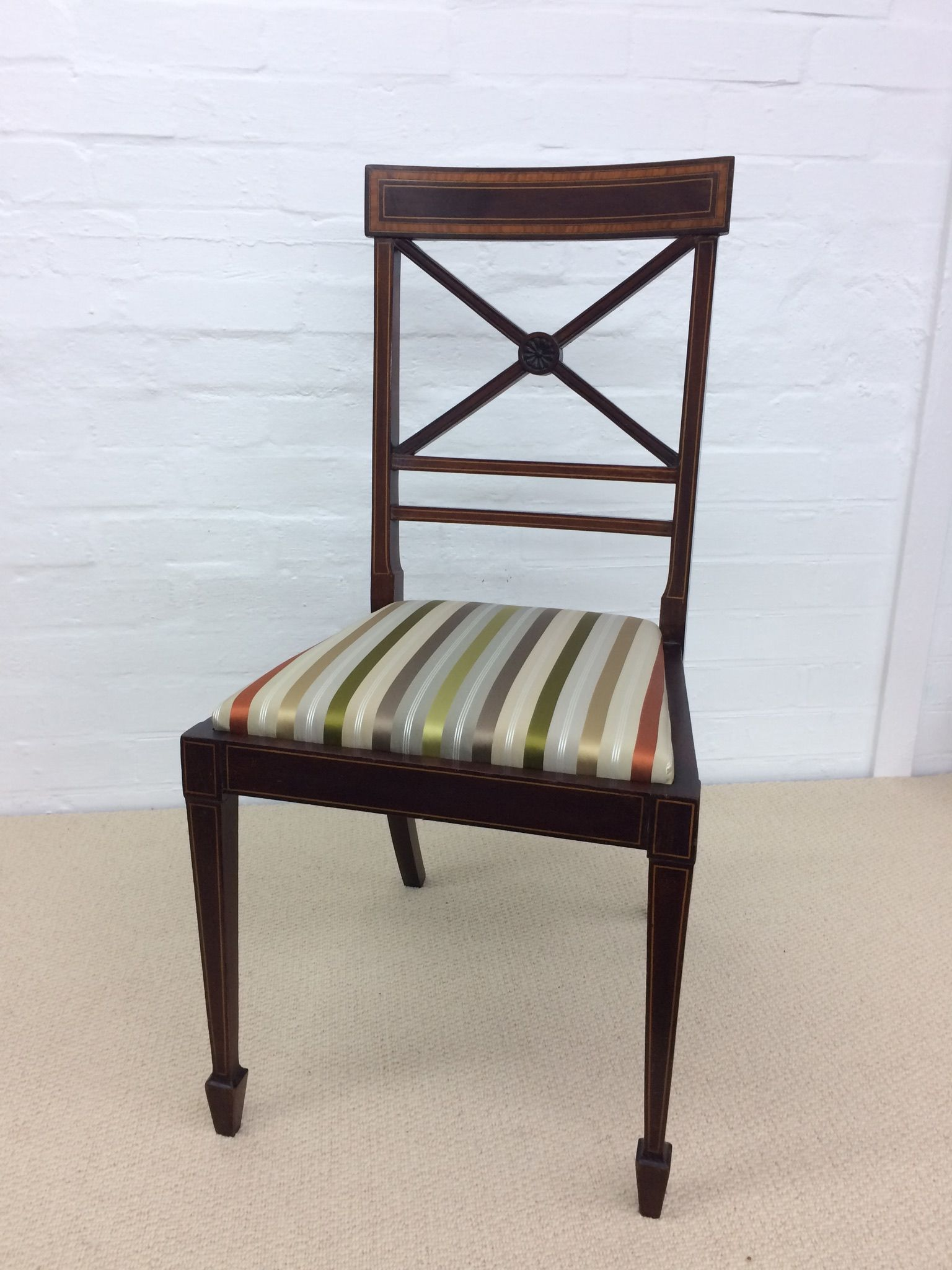 Edwardian Inlaid Chair reupholstered in a silk stripe