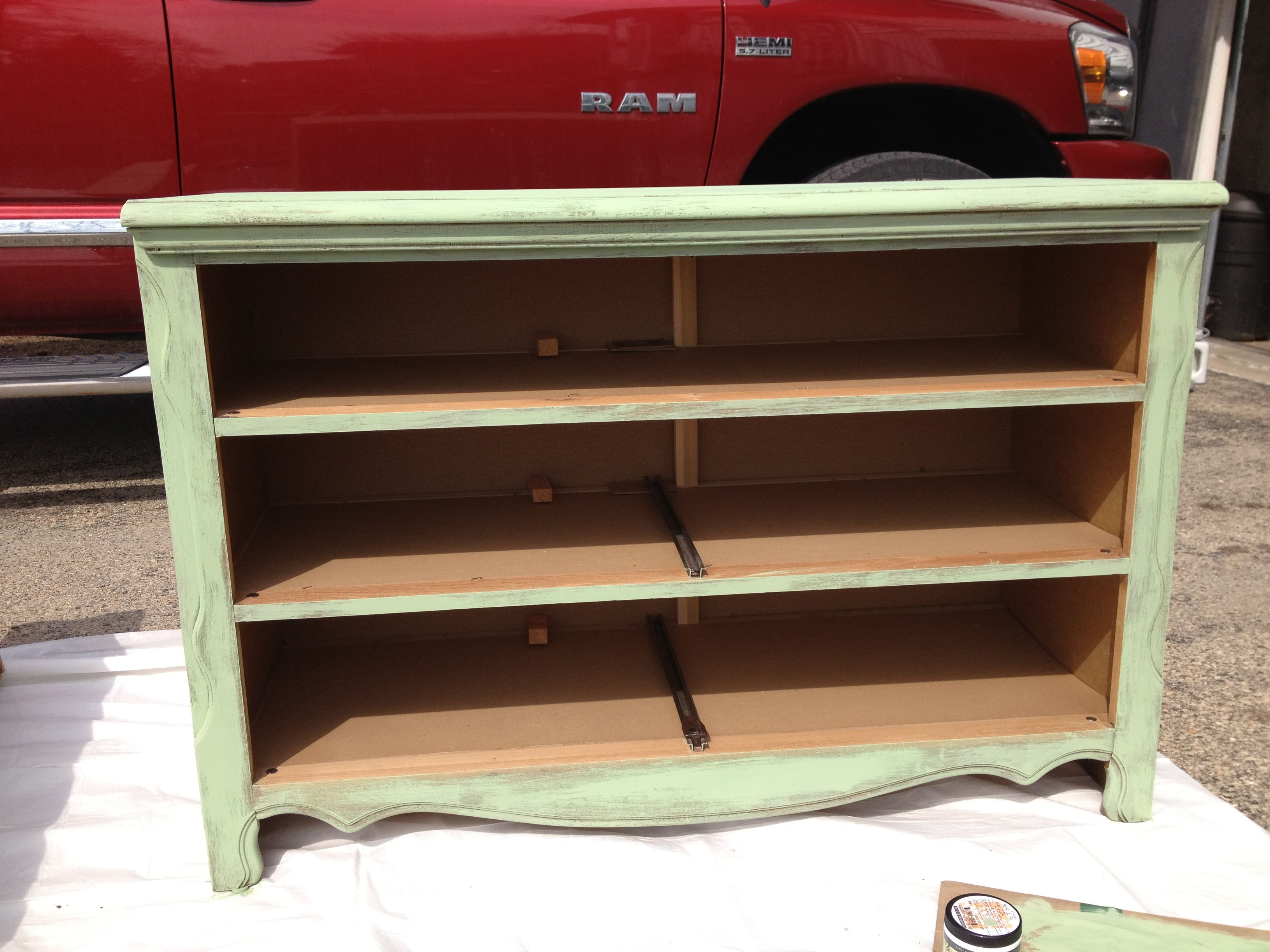 Old dresser in progress to become a changing table