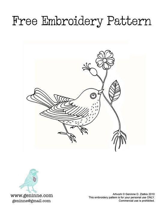 Pretty Bird Embroidery Pattern Dont Be Crewel Pinterest Bird
