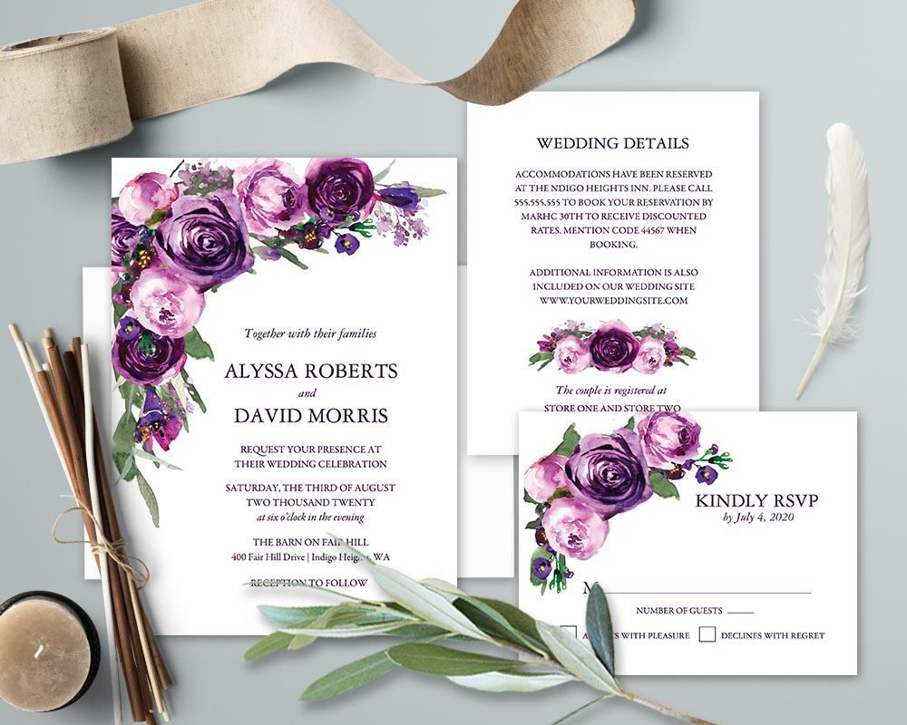 Amethyst Blooms Purple Floral Wedding Invitation Suite EDIT with Templett Greenery 4 Templates Purple Flowers DIY Template