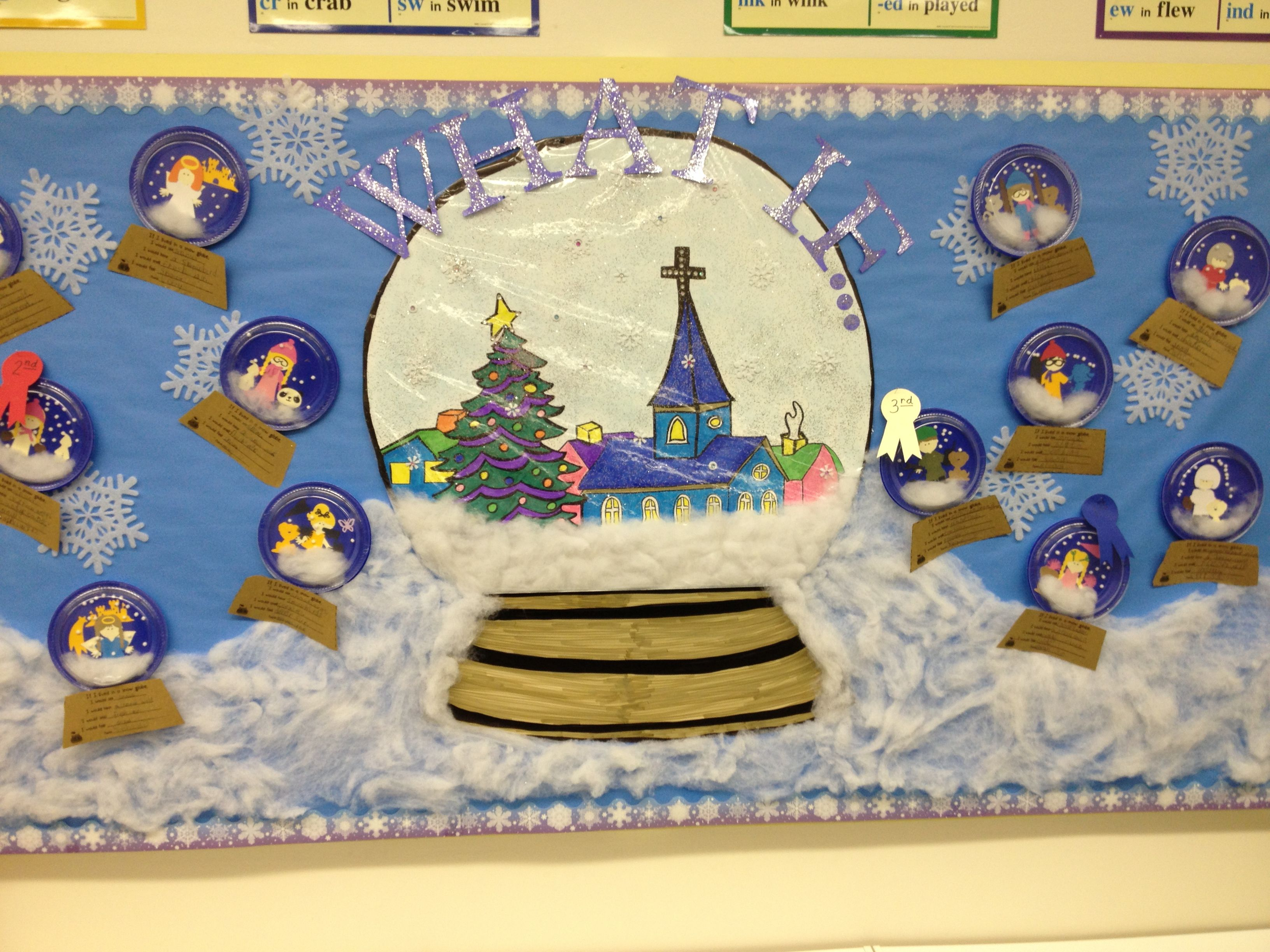 Snow globe bulletin board my classroom pinterest bulletin snow globe bulletin board gumiabroncs Images