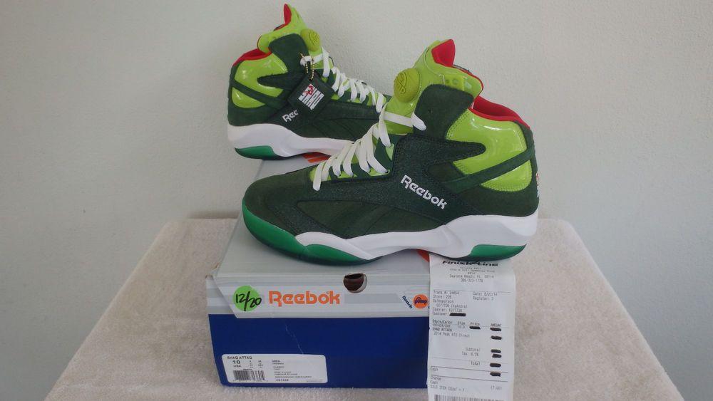 REEBOK PUMPS SHAQ ATTAQ CHRISTMAS SZ10 SONIC GREEN RED GHOST OF XMAX PAST  V61428  Reebok  AthleticSneakers 2a25ac322