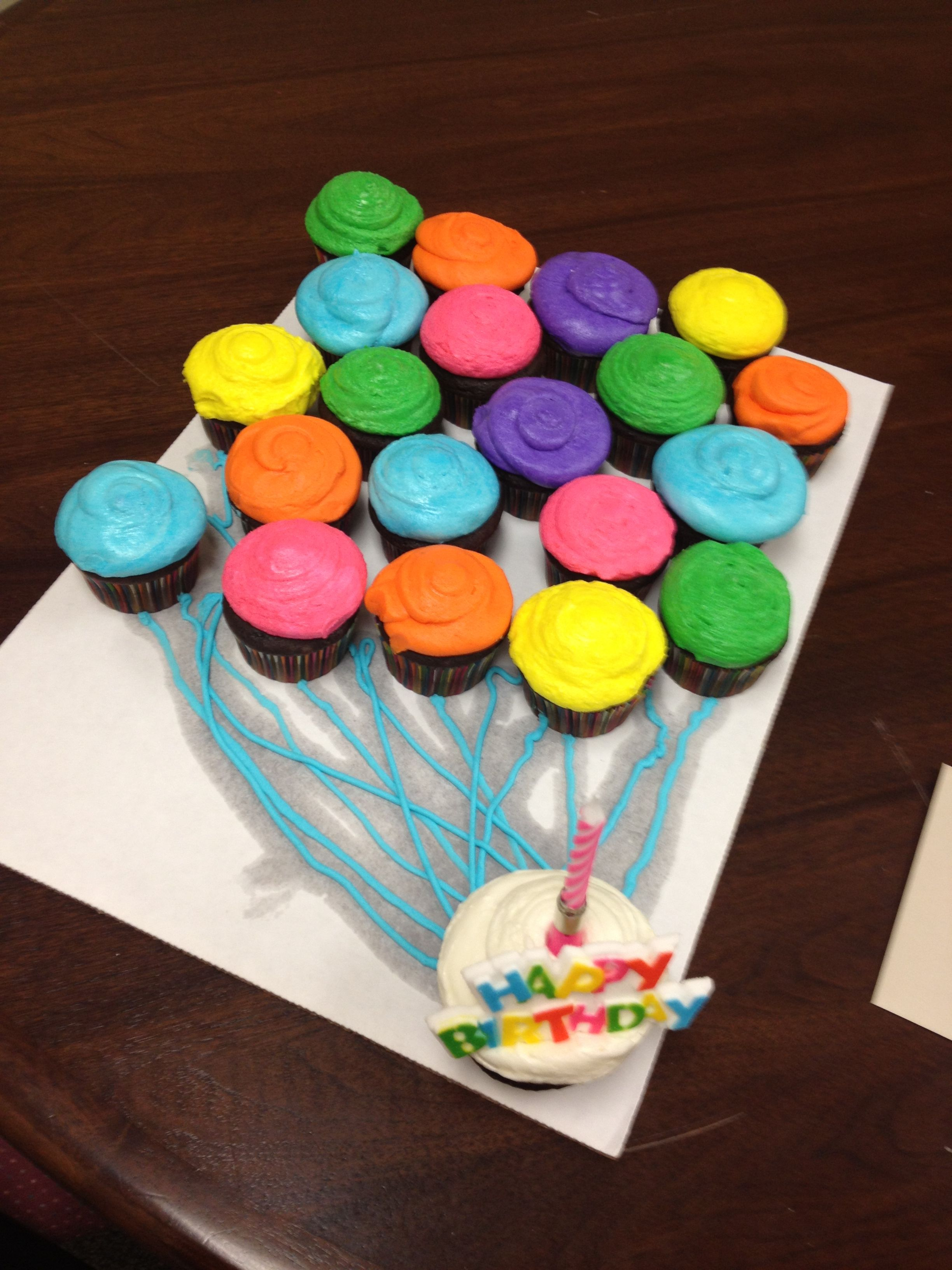 Cupcake balloon bouquet I made for bosses birthday. Boss