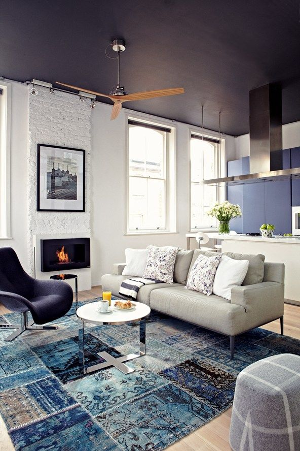Shoreditch Design Rooms: Living Room White, Blue, White