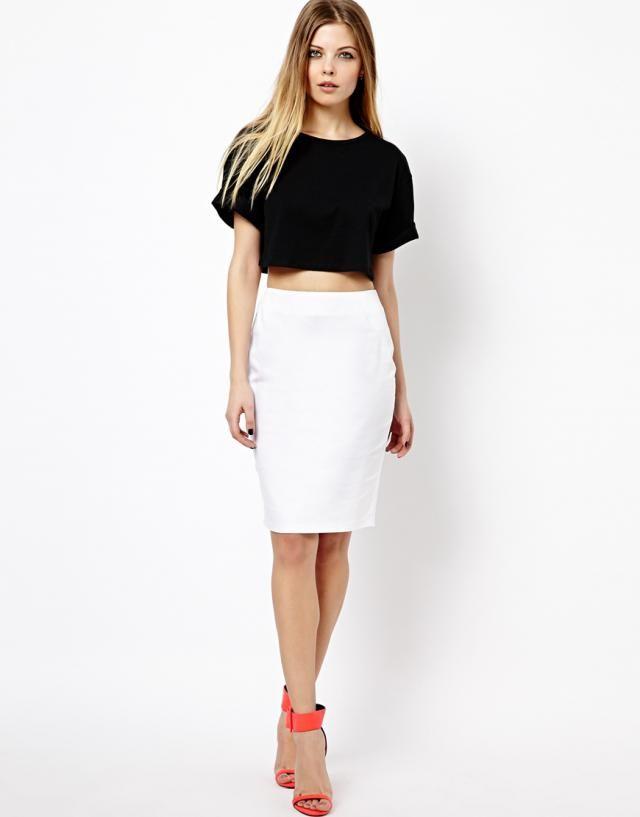 black top, white pencil skirt, red heels. women fashion ...