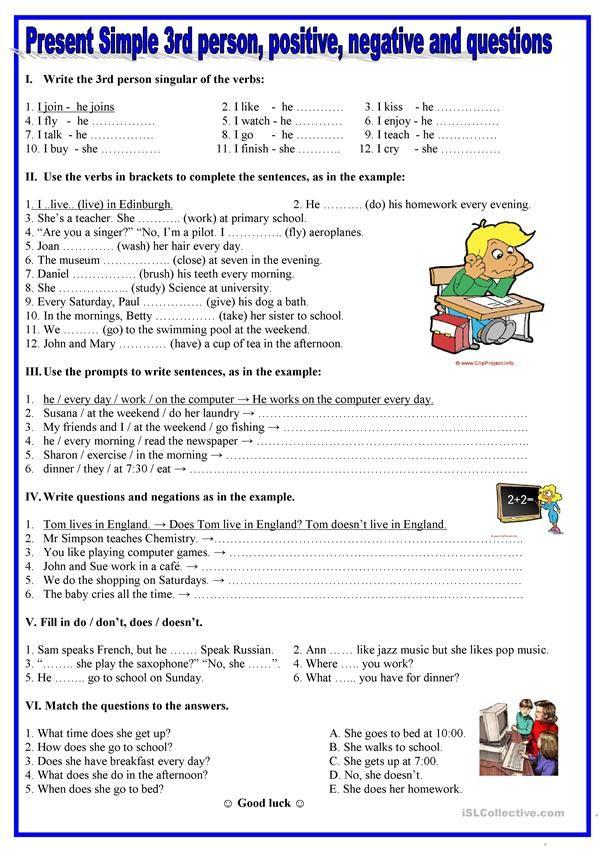 Present Simple 3rd Person Positive Negative Questions Con