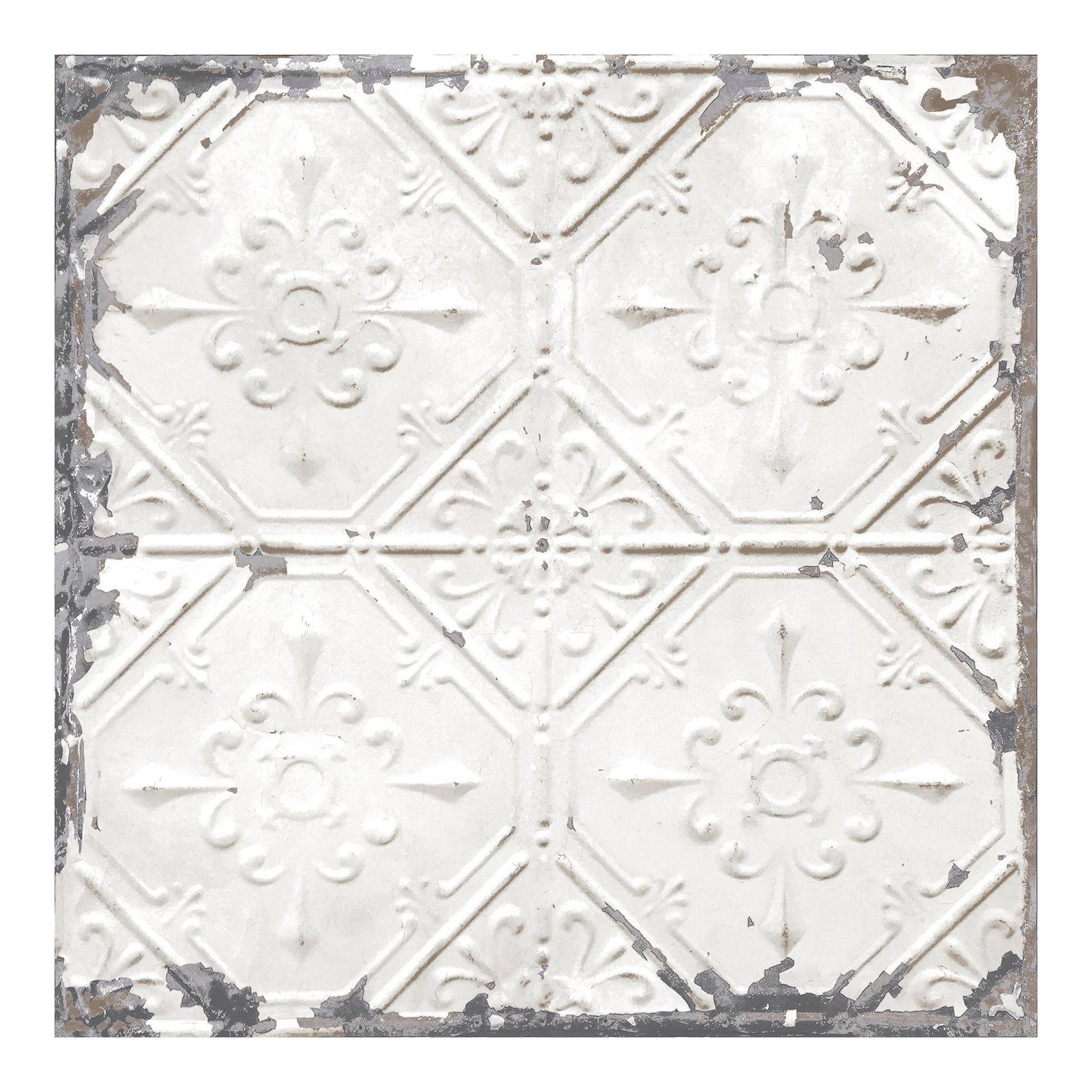 Nuwallpaper Vintage Tin Tile Peel Stick Wallpaper Gray Vintage Tin Tiles Tin Ceiling Tile Wallpaper